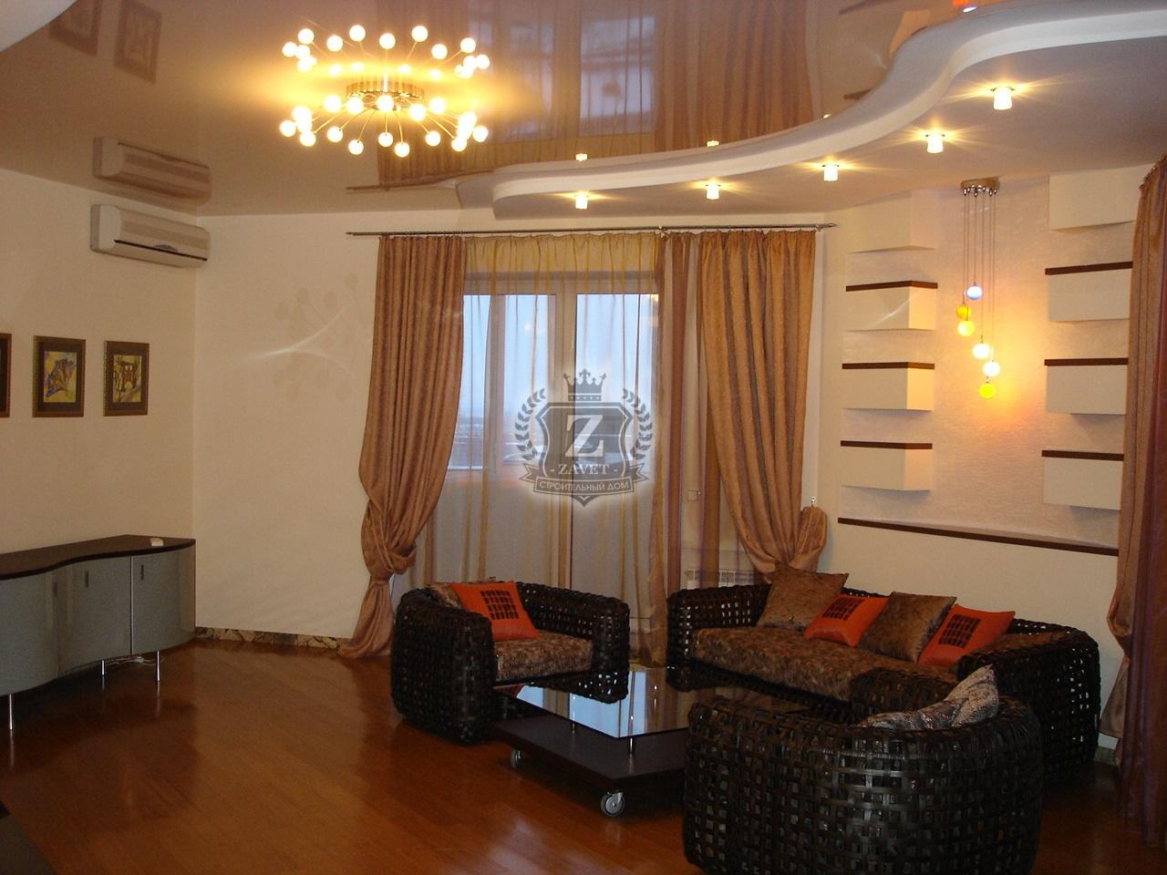 Дизайн двухуровневых потолков в зале